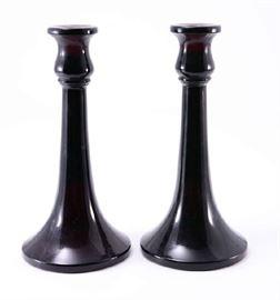 Lot 7:  Pair Amethyst Glass Candlesticks