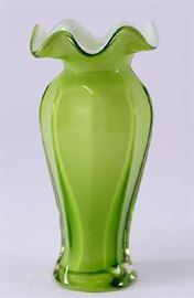 Lot 6:  Green Cased Glass Vase