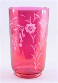 Lot 10:  Etched and Flashed Cranberry Vase