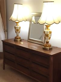 These lamps are exquisite when lit.  Vintage lamps; contemporary earth tones