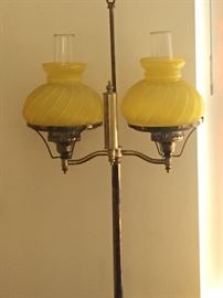 Pole lamp with two swirl glass globes.  Works ... $75.00
