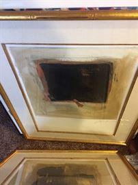 Pair of framed, signed art