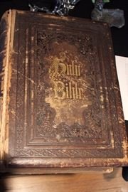 Antique bible with engravings