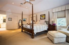 King Size Mahogany and wrought iron four poster bed with nightstand, dresser, cheval mirror