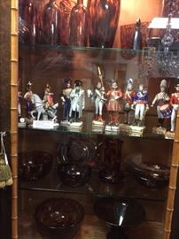 19th and 20th century tortoise glass as well as Dresden military figures.