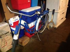 Not the best picture of a nearly-mint 1961 Schwinn Flying Star with headlight, carrier rack and a whole lot of charm!