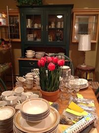 Beautiful Asheville table with leaves, 6 chairs and hutch available, along with complete Longaberger green pottery dish service and more