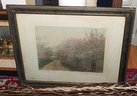 ANTIQUE SIGNED WALLACE NUTTING CHERRY BLOSSOMS SIGNED ARTISTICALLY ENHANCED PHOTO