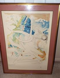 PURCHASED IN PARIS IN THE MID-80'S A SIGNED AND NUMBERED SALVADORE DALI VERY LARGE LITHOGRAPH