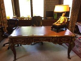 French Louis XV Style Bureau plat writing desk