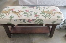 Mahogany bench with embroidered fabric cushion