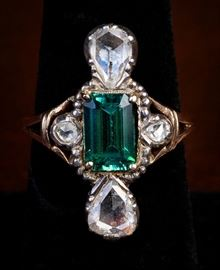 Tourmaline antique mine cut diamond ring. Small scale. Not large as appears in photo. Estimate $600 to $750. On view in the Estate Sale Gallery now. From the Estate of a Southern Lady.