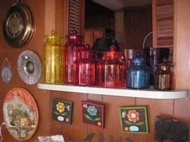 Vintage color glass jars..more