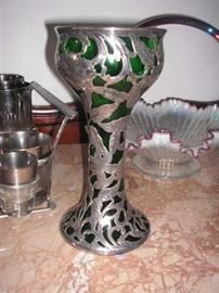 Beautiful silver overlay large goblet.
