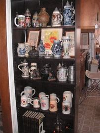 large collection of steins