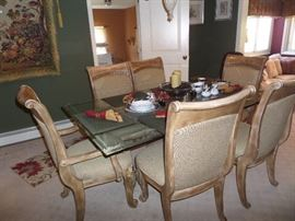 GLASS TOP PEDESTAL TABLE AND 6 CHAIRS-CAN BE SOLD SEPERATELY