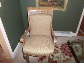 2 ARM AND 4 ARMLESS CHAIRS SOLD AS A SET