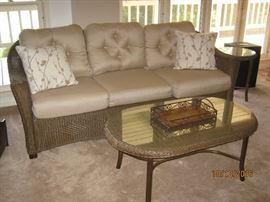 Lloyd Loom weather resistant wicker furniture with Sunbrella cushions
