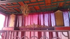 Large Chinese Hand-Carved Canopy Wedding Bed.