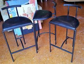 Trio vintage Bieffeplast (Italy) Tokyo stools designed by Rodney Kinsman, 1980's.