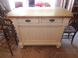 Ackworth: Butcher Block top Island with Drawers and storage $ 700.00 Firm was 1500.00