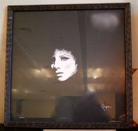 Celebrity Artist COUPE signed print Barbara 1981 in beautiful Art Deco frame