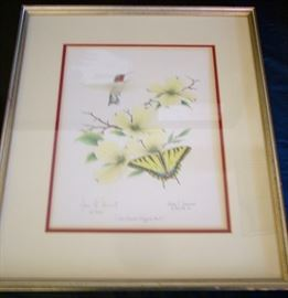 James Townsend signed/number 3 pc series Hummingbirds