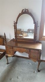 Vanity with mirror is also excellent. Has elegant details, including finial and Queen Anne style legs.