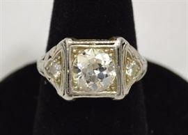 Ladies vintage diamond and platinum ring, 1.85 European cut diamond, VS2, H-I; total weight 2.05 ctw.