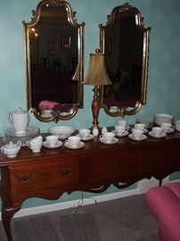 Hickory chair co. buffet, mirrors, lamp and Empress china set.