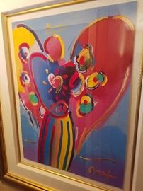 SIGNED PETER MAX PRINT WITH PAINTING