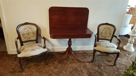 Provincial Arm Chairs with tapestry seat and back shown with Mahogany game table