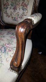 Provincial Arm Chairs with tapestry seat and back