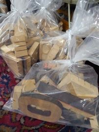 Wooden printers letters and numbers - now in grab bag lots!