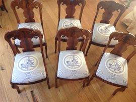 Set of 6 , late 1800's walnut chairs with high end designer upholstery on seats. Excellent  condition   900.00      # 704