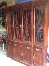 Beautiful Mahogany China Cabinet,  Brass Hardware 340.00    # 706  SUNDAY SALE   200.00  THIS  PIECE IS AT THE HUNLEY ANTIQUE MALL AT THE OUTLET