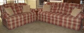 La-Z-Boy Red Plaid Upholstered Sofa and Love Seat.  Love Seat is 2 Recliners and Sofa has Recliners on each end.  Great Condition!