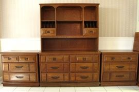 Hutch Cabinet above a 6-Drawer Buffet Chest and 2 Lowboy 3-Drawer Chest.  All sold separately.