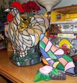 Stained Glass butterfly and Rooster lamp