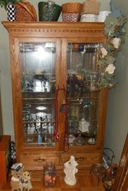 Large curio cabinet, baskets, candle holders