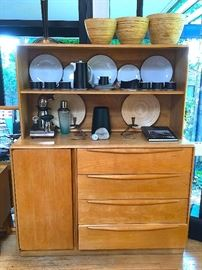 HEYWOOD WAKEFIELD CABINET, HUTCH AND MIRROR.