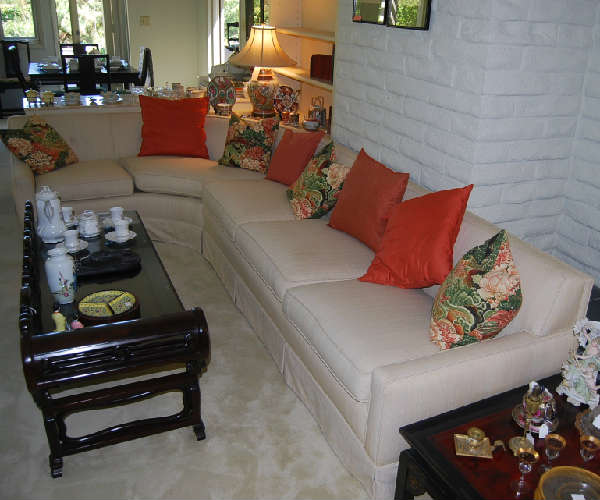 vintage couch and antique concubine bed