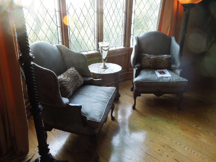 5.  Lippman & Lippman - pair of leather wingback chairs with carved claw feet (original cost = $5930)  Asking:  $2400