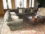 """9. Custom made Melrose Design Center chenille sectional in olive green – 11' 6"""" x 9'  4"""" ( original cost = $10,600)  Asking:  $2950"""