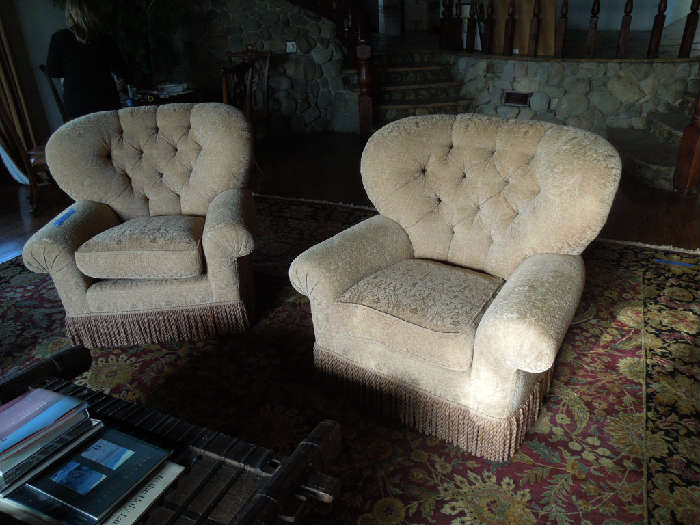 12. Melrose Design Center GINA B – pair of large Bellagio chairs with fringed trim accent (original cost = $6680)   Asking:  $1800