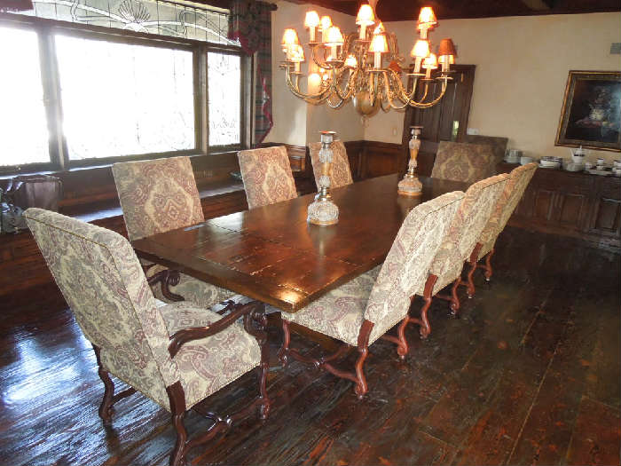 1. Fremarc dining table - 4' wide x 12' long with two extensions included -two armed Captain's chairs and 8 side chairs (original cost = $18,000+)   Asking:  $7500