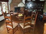 3.  Fremarc round pedestal kitchen table with lazy susan centerpiece - 6 ' diameter with eight side chairs (original cost  = $11,000+)  Asking $5500