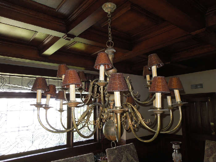 49.  Old World brass chandelier with 18 shaded candles – 4' diameter  -  Asking:  $2200