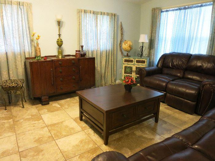 Beautiful Vintage Buffet, Nice Coffee Table, Reclining Sofa