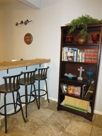 Newer Tall Bookcase, Bar Stools
